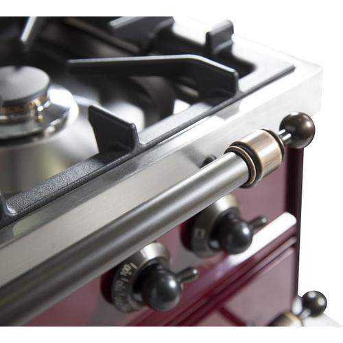 Nostalgie 40 Inch Dual Fuel Natural Gas Freestanding Range in Burgundy with Bronze Trim