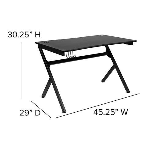 """Flash Furniture - Gaming Desk 45.25"""" x 29"""" Computer Table Gamer Workstation with Headphone Holder and 2 Cable Management Holes"""