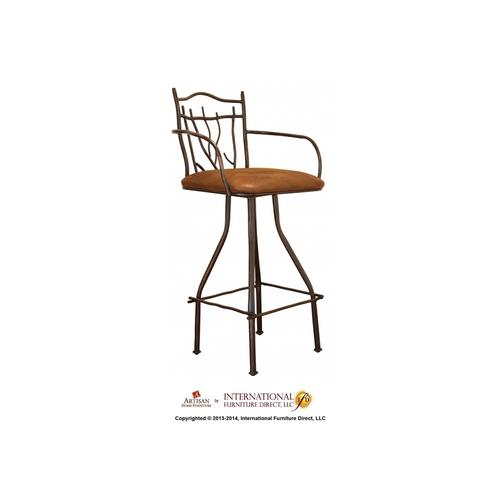 Artisan Home Furniture - 24in Branch Hand Forged Barstool - w/Arms, Microfiber Seat