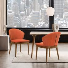 View Product - Juno Orange Fabric and Walnut Wood Dining Side Chairs - Set of 2
