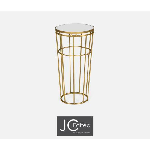 Gilded iron round end table