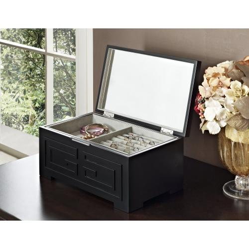 Lift Top With Inset Mirror Jewelry Box, Black