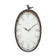 "10.75"" X 2.25"" X 19.25"" Gunmetal Antique Oval Bird Clock"