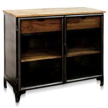 TWO DRAWER CABINET  39in w X 33in ht X 17in d  Glass Front Cabinet with Natural Wood Top and Drawe