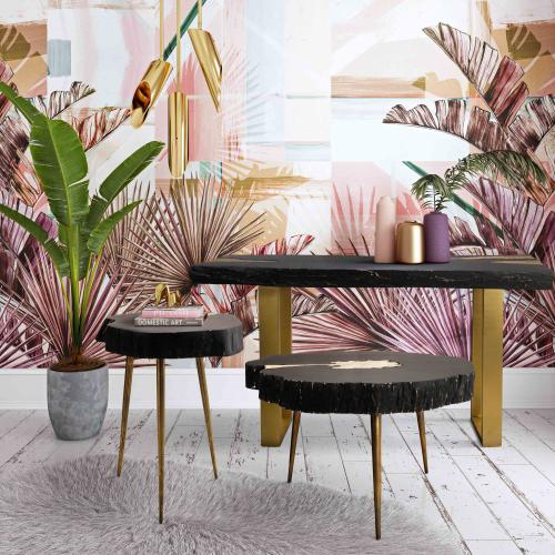 Timber Black and Brass Side Table
