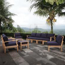 Marina 10 Piece Outdoor Patio Teak Set in Natural Navy