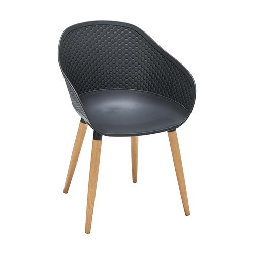 Armen Living - Ipanema Outdoor Dining Chair in Black Finish with Wood Legs