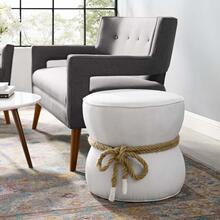 See Details - Beat Nautical Rope Upholstered Fabric Ottoman in White