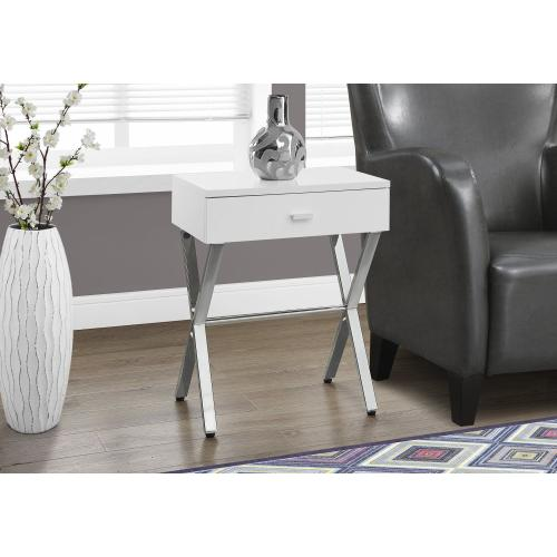 """ACCENT TABLE - 24""""H / GLOSSY WHITE / CHROME METAL"""