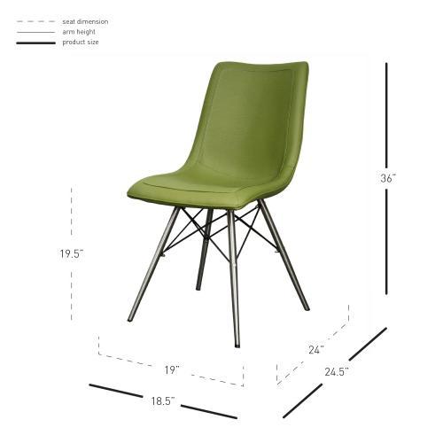 Blaine KD PU Chair Stainless Steel Legs, Cactus