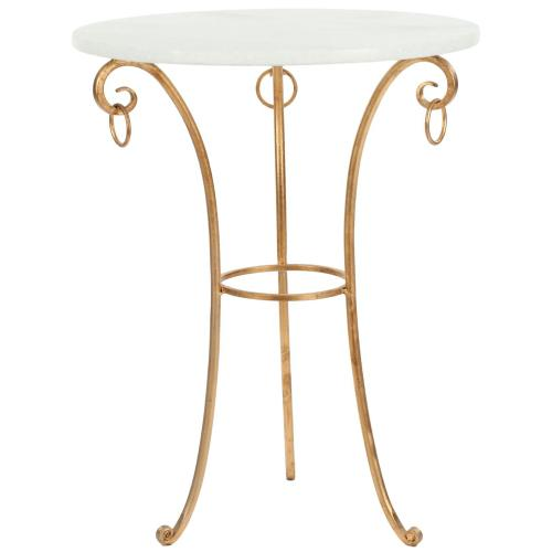 Tamara Ringed Round Top Gold Accent Table - White/ Gold