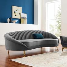Camber Channel Tufted Performance Velvet Sofa in Gray