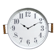 Round White & Grey Enamel Wall Clock with Tray Frame