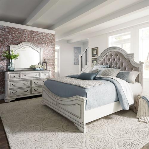 King Uph Bed, Dresser & Mirror