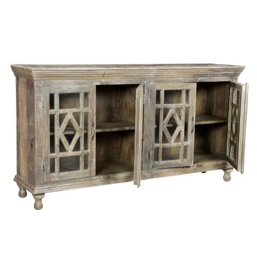 Crestview Collections - Bengal Manor Mango Wood Grey Wash 4 Door Sideboard
