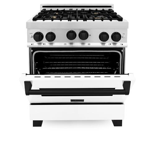 """Zline Kitchen and Bath - ZLINE Autograph Edition 30"""" 4.0 cu. ft. Range with Gas Stove and Gas Oven in Stainless Steel with White Matte Door and Accents (RGZ-WM-30) [Color: Gold]"""