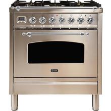 Nostalgie 30 Inch Dual Fuel Natural Gas Freestanding Range in Stainless Steel with Chrome Trim