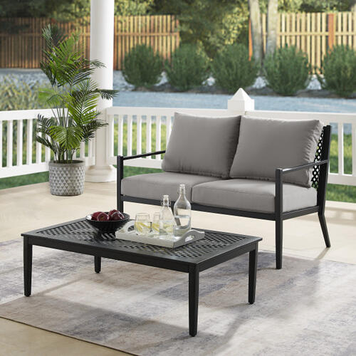 Metal Base Loveseat and Coffee Table set in Black (Component 1 of 2)