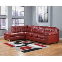 Signature Design by Ashley Alliston with Left Side Facing Chaise Sectional in Salsa Faux Leather [FSD-2399SEC-RED-GG]