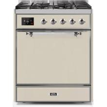 Majestic II 30 Inch Dual Fuel Liquid Propane Freestanding Range in Antique White with Chrome Trim