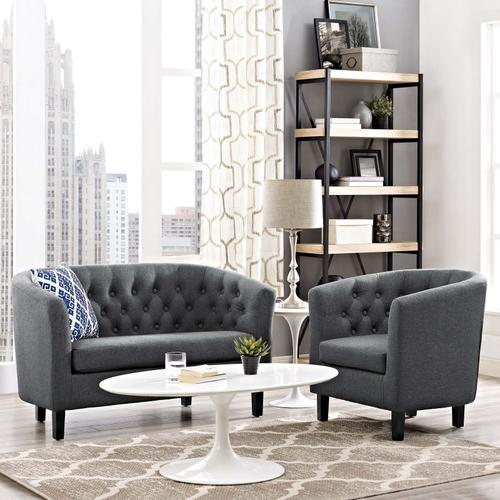 Modway - Prospect 2 Piece Upholstered Fabric Loveseat and Armchair Set in Gray