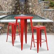 """See Details - Commercial Grade 24"""" Round Red Metal Indoor-Outdoor Bar Table Set with 2 Square Seat Backless Stools"""