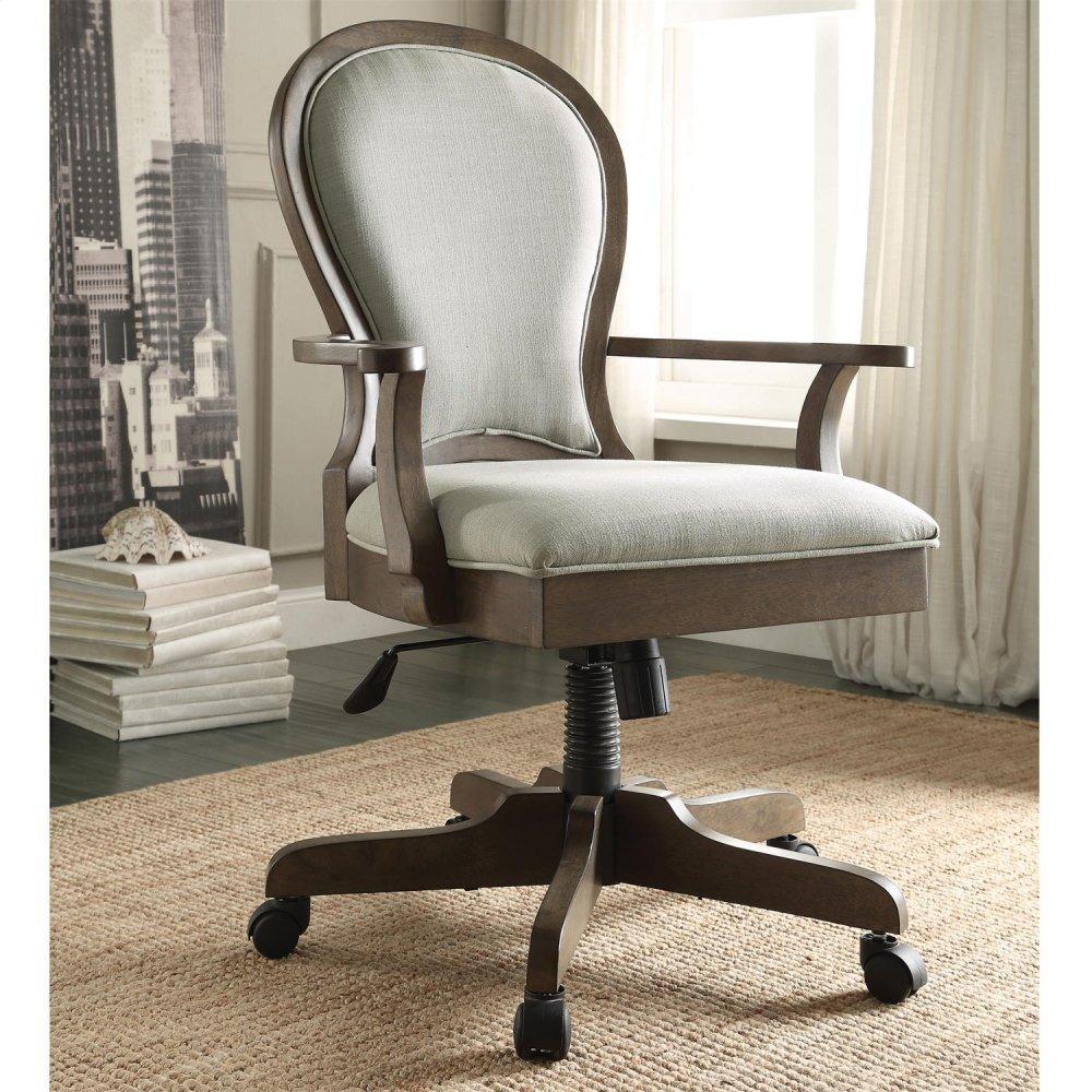 See Details - Belmeade - Scroll Back Upholstered Desk Chair - Old World Oak Finish