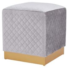Dante Velvet Fabric Square Ottoman, Serene Light Gray/ Gold