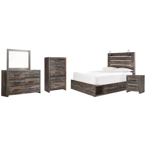 Product Image - Queen Panel Bed With 2 Storage Drawers With Mirrored Dresser, Chest and Nightstand