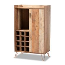 See Details - Baxton Studio Mathis Modern and Contemporary Rustic Brown Finished Wood and Rose Gold Finished Metal Wine Storage Cabinet