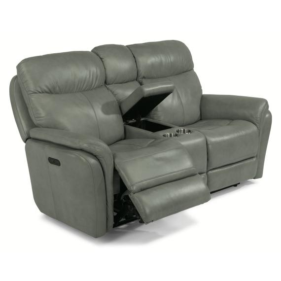 Flexsteel - Zoey Power Reclining Loveseat with Console and Power Headrests