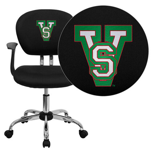 Mississippi Valley State University Devils Embroidered Black Mesh Task Chair with Arms and Chrome Base