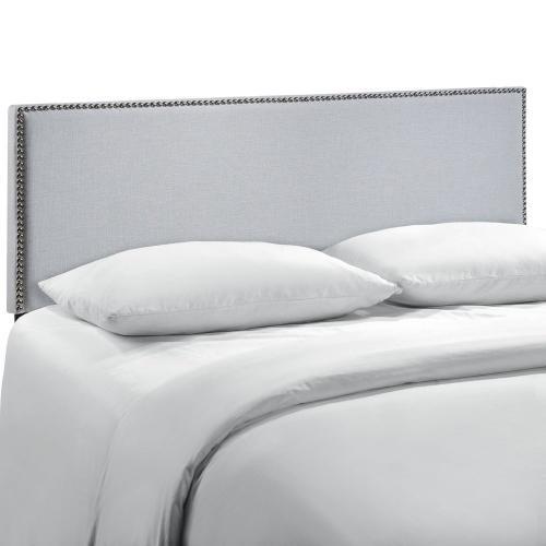 Region Nailhead Queen Upholstered Headboard in Sky Gray
