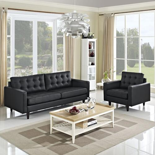 Modway - Empress Sofa and Armchair Set of 2 in Black