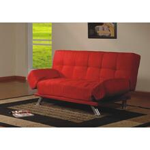 See Details - RED CLICK-CLACK FUTON SOFA WITH ADJUSTABLE ARMS