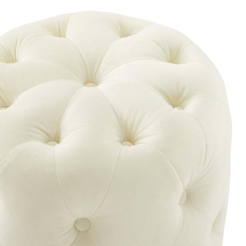Amour Tufted Button Round Performance Velvet Ottoman in Ivory