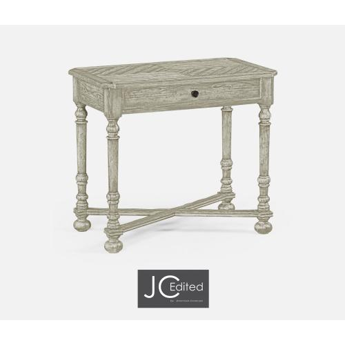 Rustic Grey Parquet Rectangular Side Table with Contrast Inlay