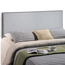 View Product - Region Nailhead King Upholstered Headboard in Sky Gray