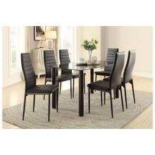 Black Glass Dining Table ONLY with Metal Legs