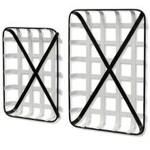 White and Black  Farmhouse Traditonal  Set of Two Metal Trays