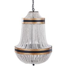 See Details - PORFINO CHANDELIER  Natural Wood Bead Body with Gold and Black Metal Accents