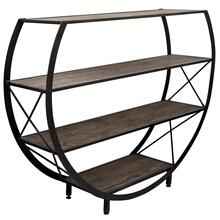 Santa Monica Circle Bookcase made of reclaim wood and metal
