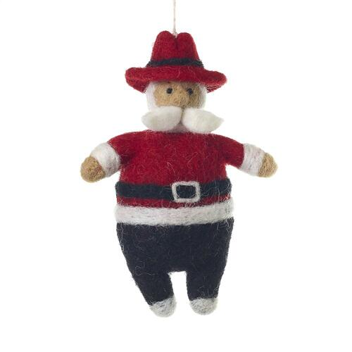 "4.5"" Hip Santa Ornament (Texan Option)"