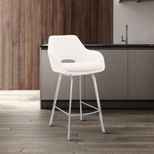 """View Product - Aura White Faux Leather and Brushed Stainless Steel Swivel 30"""" Bar Stool"""