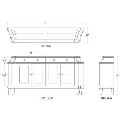 Bow Long Narrow Sideboard