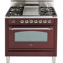 Nostalgie 36 Inch Gas Liquid Propane Freestanding Range in Burgundy with Chrome Trim