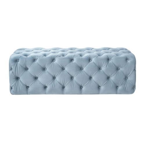Tov Furniture - Kaylee Sea Blue Velvet Tufted Ottoman