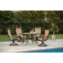 Hanover Monaco 5-Piece Dining Set with Four Sling Swivel Rockers and a 51 In. Tile-Top Dining Table, MONACO5PCSW