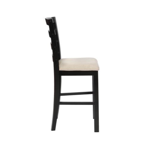Upholstered Seat and Ladder Back Slats Barstool, Black