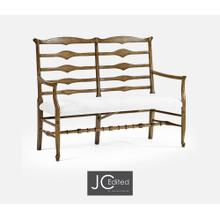 Double Triangular Ladderback Medium Driftwood Bench, Upholstered in COM